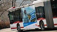 ein Bus gestaltet mit Motiv der Lehrergewinnungskampagne