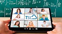 Videokonferenz auf einem Tablet mit Schülern