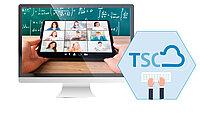 Bildmontage: Ein Computermonitor und das Logo der Thürnger Schulcloud