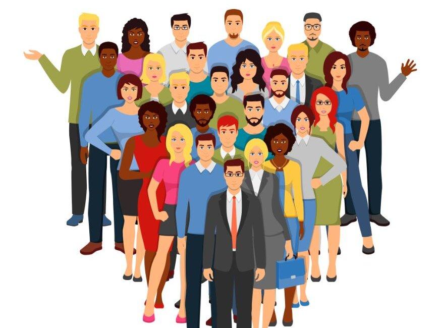 Gruppe Menschen verschiedener Herkunft