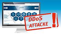 "Symbolgrafik: Monitor mit Warnhinweis ""DDoS-Attacke"""