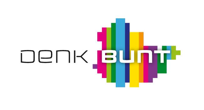 Das Bild zeigt das Logo des Thüringer Landesprogramms für Demokratie, Toleranz und Weltoffenheit. Das Motto Denk bunt ist zu lesen. Im HintergrunsIm Hintergrund ist eine schematische Karte Thüringens zu sehen, horizontal gestreift in Regenbogenfarben.