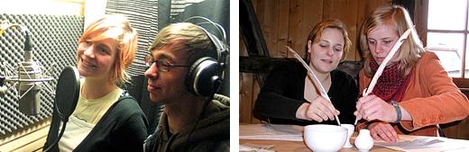 zwei Menschen im Tonstudio und eine Frau schreibend