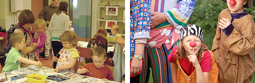Kinder beim Malen und verkleidet