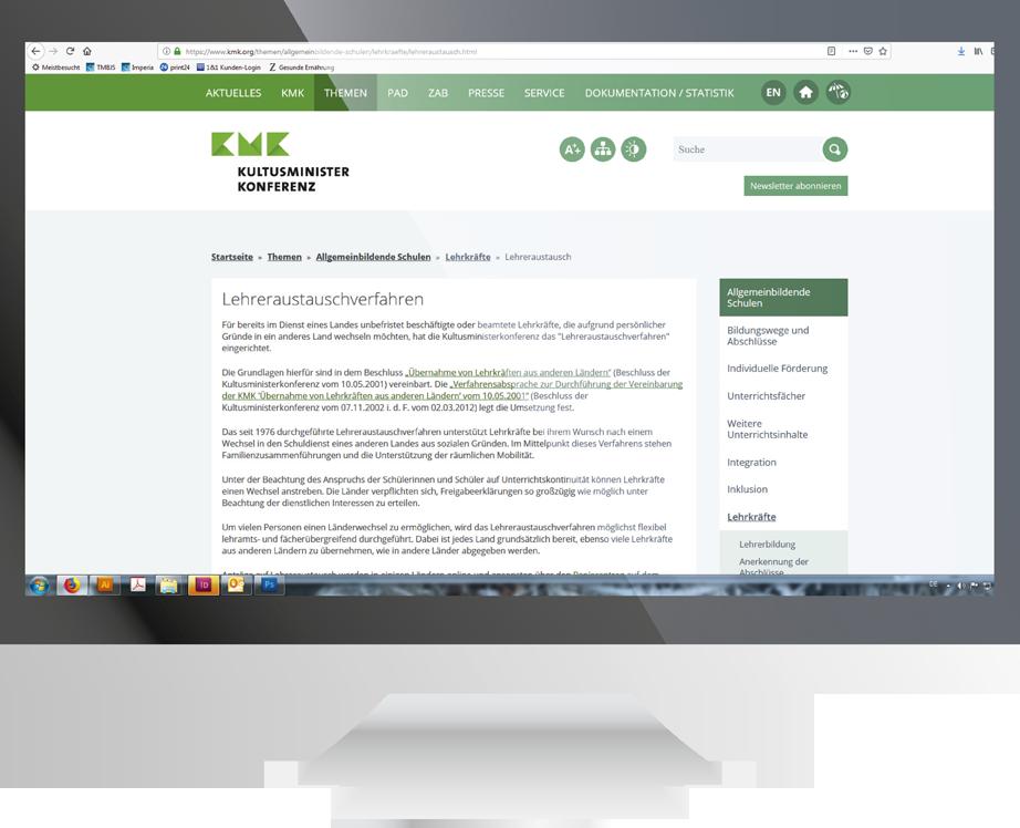 Screenshot der KMK-Webseite zum Lehreraustausch