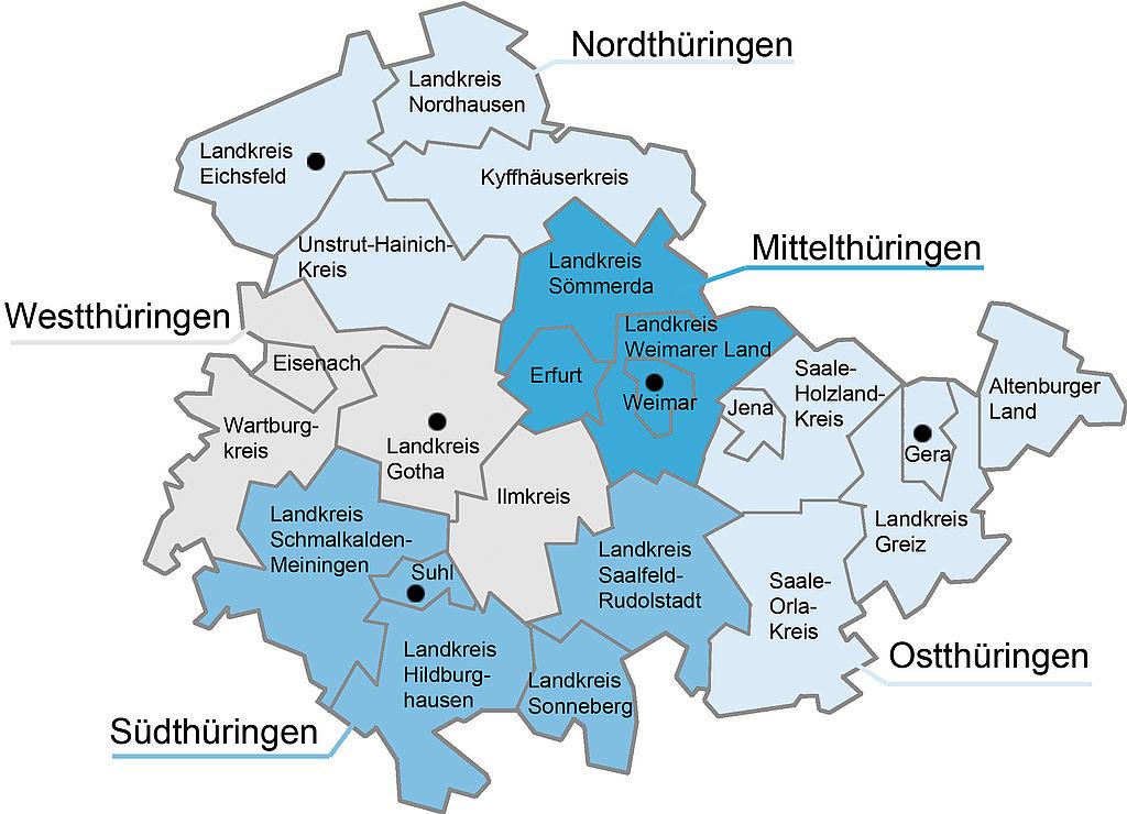Karte mit den Thüringer Schulämter